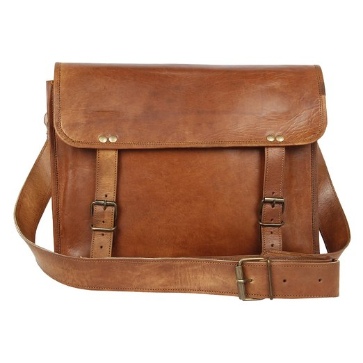 Купить Brown Leather Messenger Bag for Men Women за $40 вместо $49 на Amazon.com